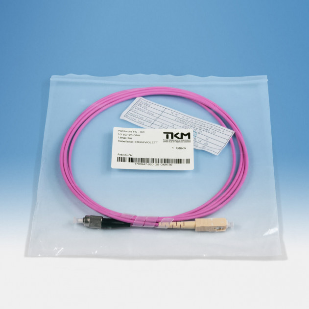TKM Patch-/Adapterkabel, FC/PC, SC/PC, OM4 simplex 2 m: Verpackung