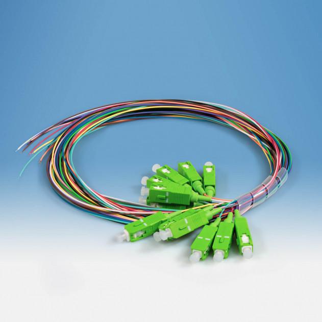 TKm Pigtailsatz: 12 Stück, OS2, SC/APC, 12-farbig, 2 m