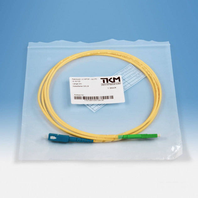 TKM Patch-/Adapterkabel, LC/APC, SC/PC, OS2 simplex 2 m: Verpackung