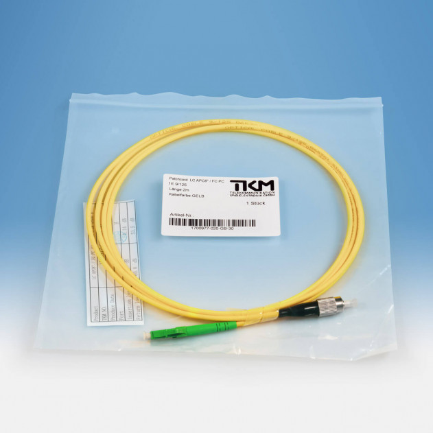 TKM Patch-/Adapterkabel, FC/PC, LC/APC, OS2 simplex, 2 m: Verpackung