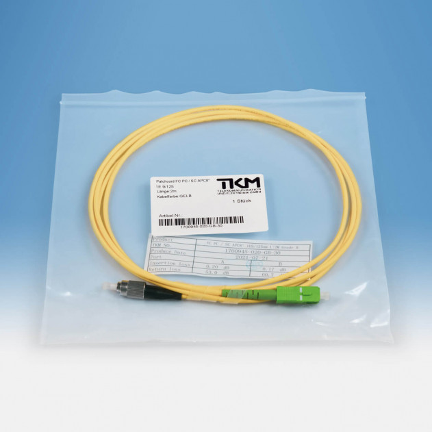 TKM Patch-/Adapterkabel, FC/PC, SC/APC, OS2 simplex 2 m: Verpackung
